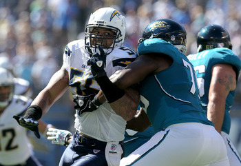 SAN DIEGO - SEPTEMBER 19:  Linebacker Shawne Merriman #56 of the San Diego Chargers fights against the block of tackle Eugene Monroe #75 of the Jacksonville Jaguars at Qualcomm Stadium on September 19, 2010 in San Diego, California. The Chargers won 38-13