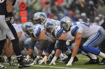 BALTIMORE - DECEMBER 13:  The Detroit Lions offensive line prepares for the snap during the game against the Baltimore Ravens at M&amp;T Bank Stadium on December 13, 2009 in Baltimore, Maryland. The Ravens defeated the Lions 48-3. (Photo by Larry French/Getty