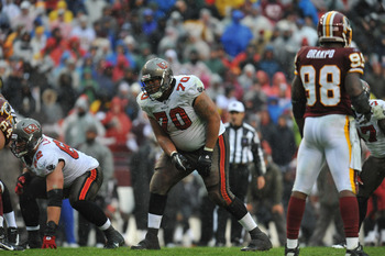 LANDOVER, MD - DECEMBER 12:  Donald Penn #70 of the Tampa Bay Buccaneers defends against the Washington Redskins  at FedExField on December 12, 2010 in Landover, Maryland. The Buccaneers defeated the Redskins 17-16. (Photo by Larry French/Getty Images)