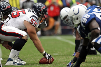 HOUSTON - SEPTEMBER 12:  Center Chris Myers #55 of the Houston Texans prepares to snap the ball against the Indianapolis Colts in the NFL season opener at Reliant Stadium on September 12, 2010 in Houston, Texas.  (Photo by Ronald Martinez/Getty Images)