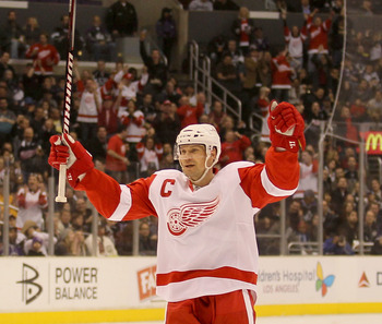 LOS ANGELES, CA - FEBRUARY 28: Nicklas Lidstrom #5 of the Detroit Red Wings celebrates after scoring a power play goal in the first period against the Los Angeles Kings at Staples Center on February 28, 2011 in Los Angeles, California.   (Photo by Stephen