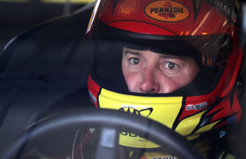 SONOMA, CA - JUNE 25:  Kurt Busch, driver of the #22 Shell/Pennzoil Dodge, sits in his car during practice for the NASCAR Sprint Cup Series Toyota/Save Mart 350 at Infineon Raceway on June 25, 2011 in Sonoma, California.  (Photo by Jerry Markland/Getty Im