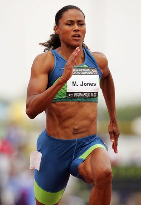 INDIANAPOLIS - JUNE 23:  (FILE PHOTO) Marion Jones runs in a preliminary heat for the women's 100 meter dash during day two of the AT&T USA Outdoor Track and Field Championships at Indiana University Track and Field Stadium on June 23, 2006 in Indianapoli