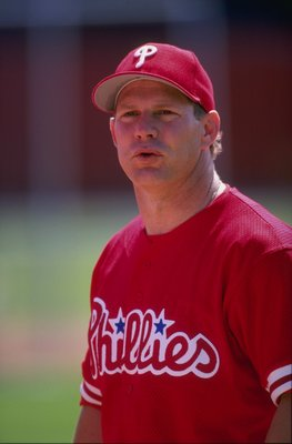 7 Mar 1998:  Outfielder Lenny Dykstra of the Philadelphia Phillies in action during a spring training game against the Cincinnati Reds at the Ed Smith Stadium in Sarasota, Florida. Mandatory Credit: Rick Stewart  /Allsport