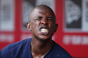 CINCINNATI, OH - JUNE 1: Nyjer Morgan #2 of the Milwaukee Brewers makes a face for the camera after pouring water over his face during the game against the Cincinnati Reds at Great American Ball Park on June 1, 2011 in Cincinnati, Ohio. (Photo by Joe Robb