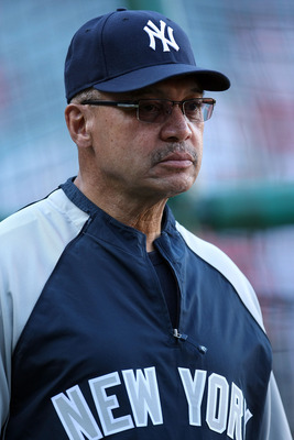 ANAHEIM, CA - OCTOBER 22:  Hall of Famer Reggie Jackson watches batting practice prior to the start of Game Five of the ALCS between the New York Yankees and the Los Angeles Angels of Anaheim during the 2009 MLB Playoffs at Angel Stadium on October 22, 20