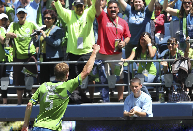 SEATTLE - JUNE 26:  Tyson Wahl #5 of the Seattle Sounders FC celebrates after scoring a goal against the New England Revolution at CenturyLink Field on June 26, 2011 in Seattle, Washington. The Sounders defeated the Revolution 2-1. (Photo by Otto Greule J