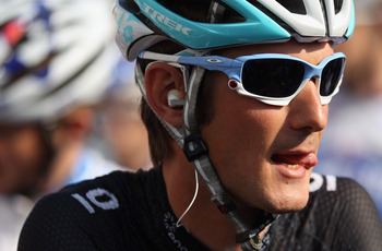 LIEGE, BELGIUM - APRIL 24:  Frank Schleck of Luxembourg and Leopard Trek arrives at the start of  the 97th Liege-Bastogne-Liege race on April 24, 2011 in Liege, Belgium.  (Photo by Bryn Lennon/Getty Images)