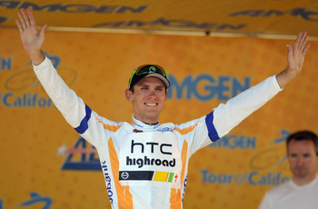 MOUNT BALDY, CA - MAY 21:  Tejay Van Garderen of the USA riding for HTC-Highroad takes the podium after defending the best young riders jersey during stage seven of the 2011 AMGEN Tour of California from Claremont to Mt. Baldy on May 21, 2011 in Mount Bal