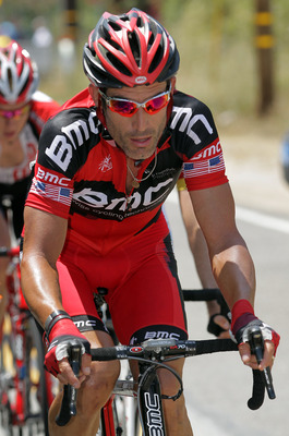 LOS ANGELES COUNTY, CA - MAY 21:  George Hincapie of the BMC Racing Team works in the breakaway as they pass through the Angeles National Forest during stage seven of the 2011 AMGEN Tour of California from Claremont to Mt. Baldy on May 21, 2011 in Los Ang