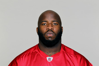 FLOWERY BRANCH, GA - CIRCA 2010: In this handout image provided by the NFL,  Quinn Ojinnaka of the Atlanta Falcons poses for his NFL headshot circa 2010 at the Falcons Football Facility in Flowery Branch, Georgia.  (Photo by NFL via Getty Images)