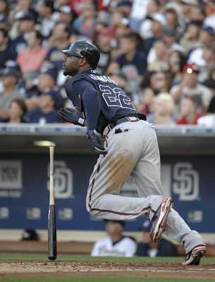 SAN DIEGO, CA - JUNE 25:  Jason Heyward #22 of the Atlanta Braves hits a double during the sixth inning of a baseball game against the San Diego Padres at Petco Park on June 25, 2011 in San Diego, California.  The Braves won 10-1.  (Photo by Denis Poroy/G