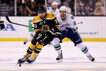 BOSTON, MA - JUNE 13:  Michael Ryder #73 of the Boston Bruins skates against Jannik Hansen #36 of the Vancouver Canucks during Game Six of the 2011 NHL Stanley Cup Final at TD Garden on June 13, 2011 in Boston, Massachusetts.  (Photo by Elsa/Getty Images)