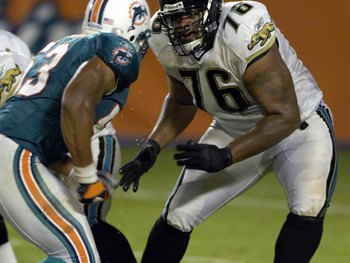 MIAMI, FL - AUGUST 11: Tackle Richard Collier #76 of the Jacksonville Jaguars sets to block against the Miami Dolphins  at Dolphin Stadium on August 11, 2007 in Miami, Florida. (Photo by Al Messerschmidt/Getty Images)