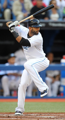 TORONTO, CANADA - JUNE 29:  Jose Bautista #19 of the Toronto Blue Jays bats against the Pittsburgh Pirates in a MLB interleague game on June 29, 2011 at the Rogers Centre in Toronto, Canada. (Photo by Claus Andersen/Getty Images)
