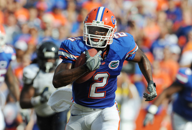 GAINESVILLE, FL - NOVEMBER 21: Running back Jeff Demps #2 of the Florida Gators rushes upfield for a touchdown against the Florida International University Golden Panthers, November 21, 2009 at Ben Hill Griffin Stadium in Gainesville, Florida.  (Photo by