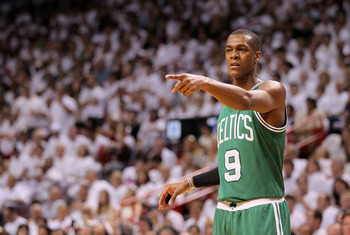 MIAMI, FL - MAY 01:  Rajon Rondo #9  of the Boston Celtics points during Game One of the Eastern Conference Semifinals of the 2011 NBA Playoffs against the Miami Heat at American Airlines Arena on May 1, 2011 in Miami, Florida. NOTE TO USER: User expressl