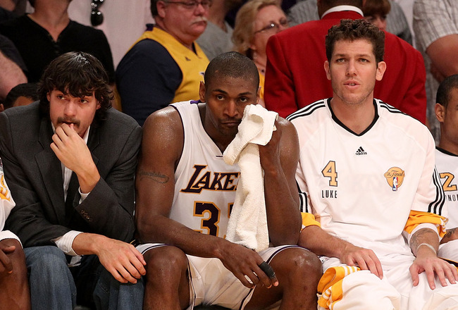 LOS ANGELES, CA - JUNE 06:  (L-R) Lamar Odom #7, Adam Morrison #6, Ron Artest #37, Luke Walton #4 and Shannon Brown #12 of the Los Angeles Lakers sit on the bench near the end of the Lakers' loss to the Boston Celtics in Game Two of the 2010 NBA Finals at