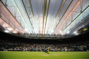 LONDON, ENGLAND - JUNE 28:  A view of centre court during the quarterfinal round match between Victoria Azarenka of Belarus and Tamira Paszek of Austria on Day Eight of the Wimbledon Lawn Tennis Championships at the All England Lawn Tennis and Croquet Clu