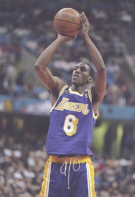 9 Feb 1997:  Guard Eddie Jones of the Los Angeles Lakers shoots the ball during the NBA All-Star Game at the Gund Arena in Cleveland, Ohio.  The East won the game 132-120. Mandatory Credit: Brian Bahr  /Allsport