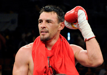LAS VEGAS - JULY 31:  Robert Guerrero celebrates his unanimous-decision victory over Joel Casamayor in their junior welterweight fight at the Mandalay Bay Events Center July 31, 2010 in Las Vegas, Nevada.  (Photo by Ethan Miller/Getty Images)