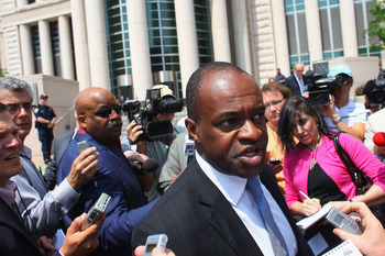 ST. LOUIS, MO - JUNE 3: Executive Director of the National Football League Players' Association (NFLPA) DeMaurice Smith leaves the Thomas F. Eagleton U.S. Federal Courthouse after the NFL lockout hearing on June 3, 2011 in St. Louis, Missouri. NFL players
