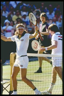 Jul 1977:  Bjorn Borg of Sweden celebrates victory over Jimmy Connors of the USA in the mens final of the Wimbledon tennis championships at the all England club in London.                                         Mandatory Credit: Allsport UK