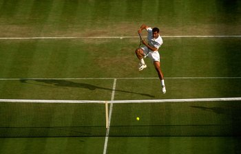 3 Jul 1998:  Pete Sampras of the USA plays forehand smash during the 1998 Wimbledon Championships played at Wimbledon, London, England.  \ Mandatory Credit: Gary M Prior/Allsport