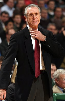 MILWAUKEE - JANUARY 9:  Head Coach Pat Riley of the Miami Heat looks on during their game against the Milwaukee Bucks at the Bradley Center on January 9, 2008 in Milwaukee, Wisconsin.  The Bucks won 98-92.  NOTE TO USER: User expressly acknowledges and ag