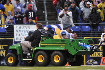 BALTIMORE - DECEMBER 13:  Kevin Smith #34 of the Detroit Lions is carted off the field after a leg injury during the game against the Baltimore Ravens at M&T Bank Stadium on December 13, 2009 in Baltimore, Maryland. The Ravens defeated the Lions 48-3. (Ph