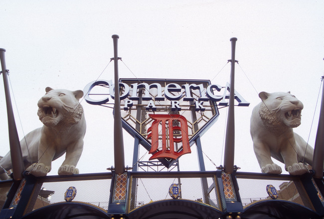 11 Apr 2000:  General view of the outside of Comerica Park home of the Detroit Tigers in Detroit, Michigan. Mandatory Credit: Harry How/ALLSPORT