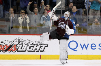 DENVER, CO - MARCH 22:  Goalie Brian Elliott #30 of the Colorado Avalanche celebrates after Derick Brassard of the Columbus Blue Jackets missed the final shot during their overtime shootout at the Pepsi Center on March 22, 2011 in Denver, Colorado.  (Phot