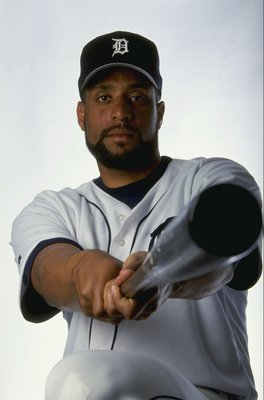 2 Mar 1999:  Infielder Tony Clark #17 of the Detroit Tigers poses for a studio portrait on Photo Day during Spring Training at the Joker Merchant Stadium in Lakeland, Florida. Mandatory Credit: Vincent Laforet  /Allsport