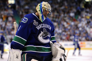 VANCOUVER, BC - JUNE 15:  Roberto Luongo #1 of the Vancouver Canucks looks on during Game Seven against the Boston Bruins in the 2011 NHL Stanley Cup Final at Rogers Arena on June 15, 2011 in Vancouver, British Columbia, Canada.  (Photo by Harry How/Getty