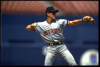 13 MAY 1993:  TRAVIS FRYMAN, INFIELDER FOR THE DETROIT TIGERS, MAKES A PLAY DURING THEIR GAME WITH THE CALIFORNIA ANGELS AT ANAHEIM STADIUM IN ANAHEIM, CALIFORNIA.  MANDATORY CREDIT: STEPHEN DUNN/ALLSPORT