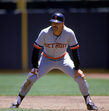 OAKLAND, CA - 1987:  Kirk Gibson #23 of the Detroit Tigers leads off base during a 1987 game against the Oakland Athletics at Oakland-Alameda County Coliseum in Oakland, California. (Photo by Otto Greule Jr./Getty Images)