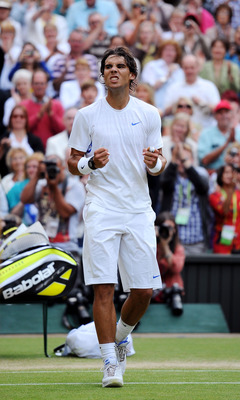 LONDON, ENGLAND - JULY 01:  Rafael Nadal of Spain celebrates after winning his semifinal round match against Andy Murray of Great Britain on Day Eleven of the Wimbledon Lawn Tennis Championships at the All England Lawn Tennis and Croquet Club on July 1, 2