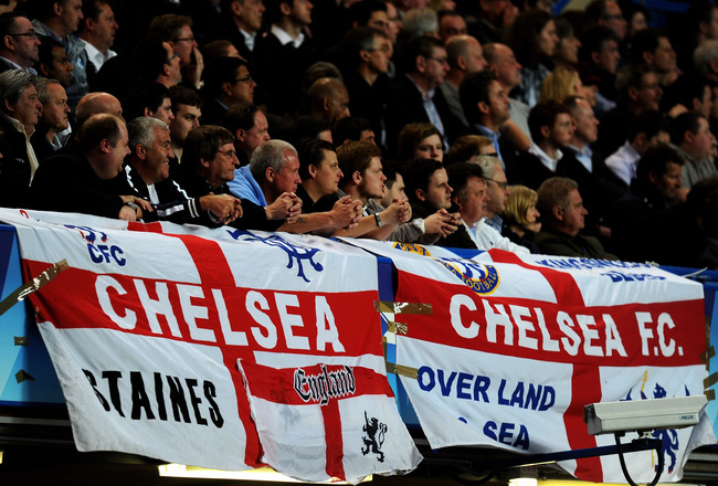LONDON, ENGLAND - APRIL 06:  Chelsea fans look on during the UEFA Champions League quarter final first leg match between Chelsea and Manchester United at Stamford Bridge on April 6, 2011 in London, England.  (Photo by Mike Hewitt/Getty Images)