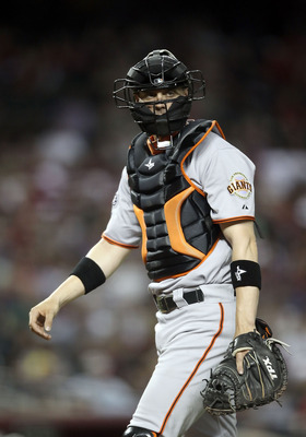PHOENIX, AZ - JUNE 14:  Catcher Chris Stewart #37 of the San Francisco Giants during the Major League Baseball game against the Arizona Diamondbacks at Chase Field on June 14, 2011 in Phoenix, Arizona. The Giants defeated the Diamondbacks 6-5.  (Photo by