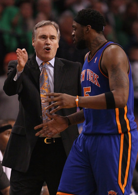 BOSTON, MA - APRIL 17:  Head coach Mike D'Antoni of the New York Knicks directs Bill Walker #5 in the second half against the Boston Celtics in Game One of the Eastern Conference Quarterfinals in the 2011 NBA Playoffs on April 17, 2011 at the TD Garden in