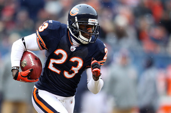 CHICAGO, IL - JANUARY 16:  Devin Hester #23 of the Chicago Bears returns a kick against the Seattle Seahawks in the 2011 NFC divisional playoff game at Soldier Field on January 16, 2011 in Chicago, Illinois.  (Photo by Andy Lyons/Getty Images)