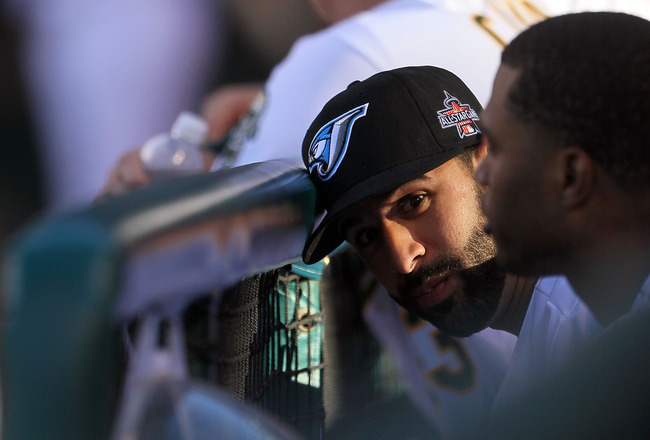 ANAHEIM, CA - JULY 13:  American League All-Star Jose Bautista #19 of the Toronto Blue Jays looks on from the dugout during the 81st MLB All-Star Game at Angel Stadium of Anaheim on July 13, 2010 in Anaheim, California.  (Photo by Jeff Gross/Getty Images)