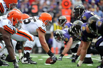 BALTIMORE - SEPTEMBER 26:  Alex Mack #55 of the Cleveland Browns snaps the ball against the Baltimore Ravens  at M&amp;T Bank Stadium on September 26, 2010 in Baltimore, Maryland. The Ravens defeated the Browns 24-17. (Photo by Larry French/Getty Images)