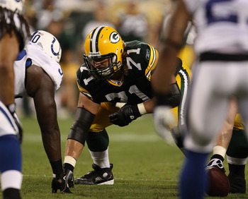 GREEN BAY, WI - AUGUST 26: Josh Sitton #71 of the Green Bay Packers awaits the start of play against the Indianapolis Colts during a preseason game at Lambeau Field on August 26, 2010 in Green Bay, Wisconsin. The Packers defeated the Colts 59-24.  (Photo