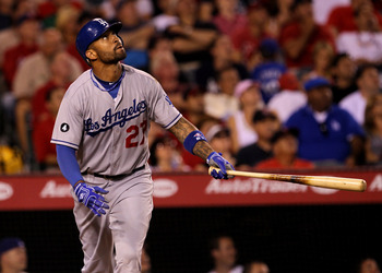ANAHEIM, CA - JULY 01:  Matt Kemp #27 of the Los Angeles Dodgers picks up an RBI with a sacrifice fly in the fourth inning against the Los Angeles Angels of Anaheim on July 1, 2011 at Angel Stadium in Anaheim, California.  (Photo by Stephen Dunn/Getty Ima