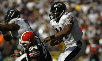 BALTIMORE - SEPTEMBER 14:  Jamal Lewis #31 of the Baltimore Ravens carries the ball against the Cleveland Browns on September 14, 2003 at the M&amp;T Bank Stadium in Baltimore, Maryland. Lewis set an NFL record for rushing yards with 295 in a game as the Rave
