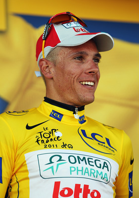 LES HERBIERS, FRANCE - JULY 02:  Philippe Gilbert of Belgium and Omega Pharma-Lotto wears the yellow jersey after winning stage one of the 2011 Tour de France from the Passage du Gois to Mont des Alouettes Les Herbiers on July 2, 2011 in Les Herbiers, Fra