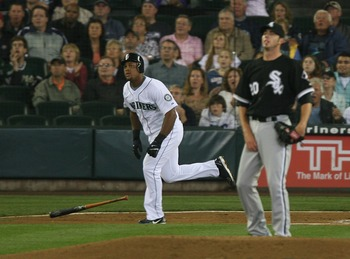 SEATTLE - AUGUST 19:  Adrian Beltre #29 of the Seattle Mariners watches the flight of his first inning home run off of starting pitcher Jon Garland #20 of the Chicago White Sox at Safeco Field August 19, 2007 in Seattle, Washington.  (Photo by Otto Greule