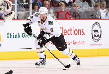 GLENDALE, AZ - MARCH 29:  Brad Richards #91 of the Dallas Stars skates with the puck during the NHL game against the Phoenix Coyotes at Jobing.com Arena on March 29, 2011 in Glendale, Arizona. The Coyotes defeated the Stars 2-1 in an overtime shoot out.