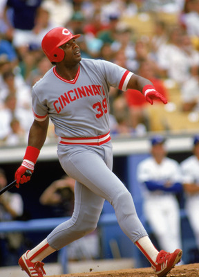 1986:  Dave Parker of the Cincinnati Reds swings at the pitch during a MLB game against the Los Angeles Dodgers in the 1986 season. ( Photo by: Mike Powell/Getty Images)